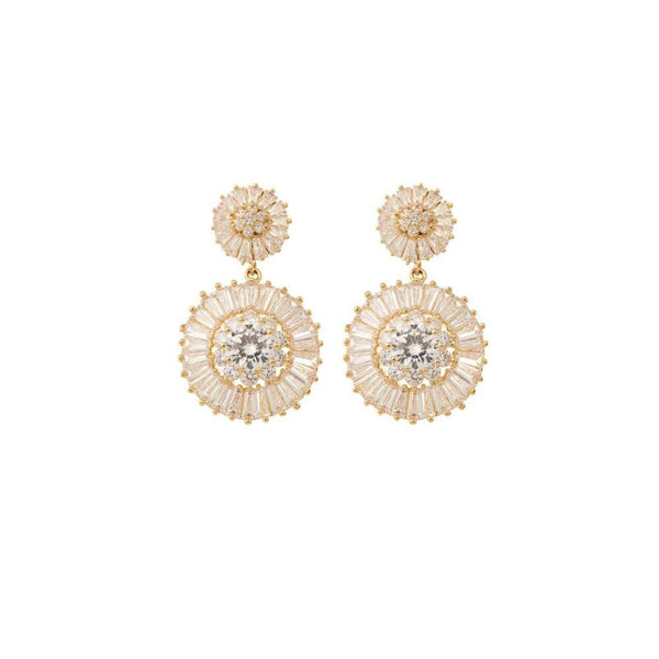 AMELIE GEORGE - Natalia Gold Diamond Double Drop Wedding Earring