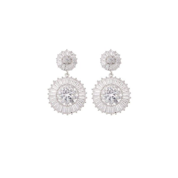 AMELIE GEORGE - Natalia Silver Diamond Double Drop Wedding Earring