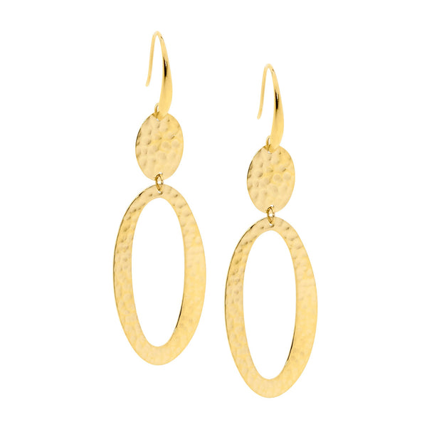 Gold plated stainless steel drop earrings