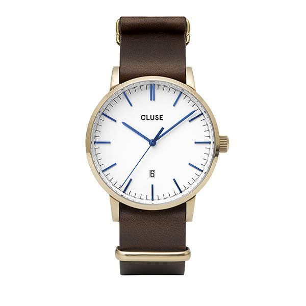 CLUSE Aravis Nato Leather Gold White/Dark Brown