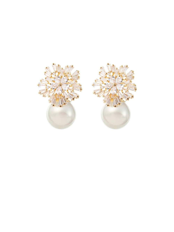 AMELIE GEORGE - St Clair Gold Starburst Pearl Drop Earrings