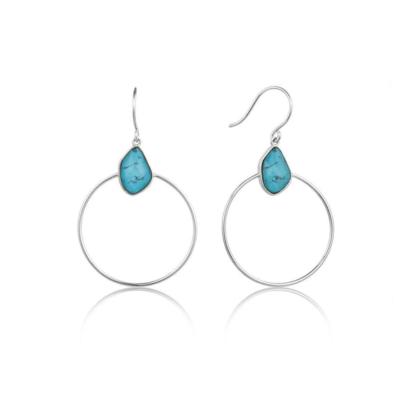 ANIA HAIE - Silver Turquoise Front Hoop Earrings