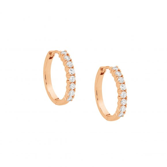 OCEANNIA JEWELS - Stainless Steel CZ 15mm Hoop Earrings with Rose Gold Plating