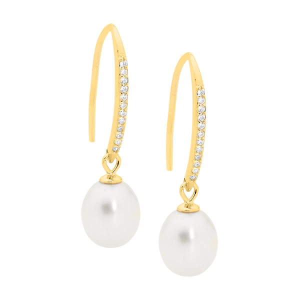 Gold Plated Sterling Silver Cubic Zirconia Freshwater Pearl Drop Earrings