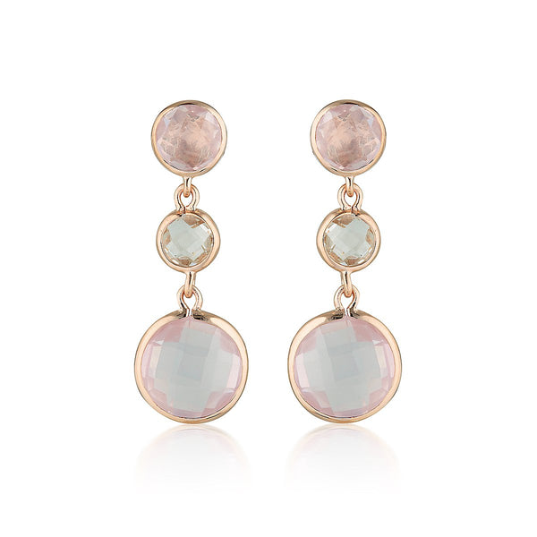 Georgini - Diantha Rose Gold Rose Quartz Drop Earrings