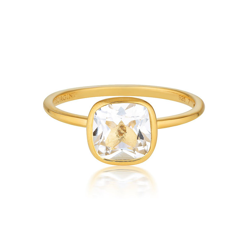 Georgini - Doros Yellow Gold White Topaz Ring