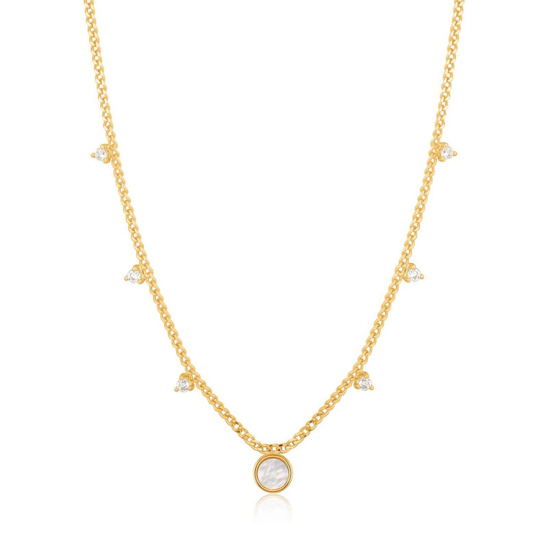 ANIA HAIE - Gold Mother Of Pearl Drop Disc Necklace