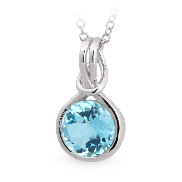 Blue Topaz Bezel Set Pendant in 9ct White Gold
