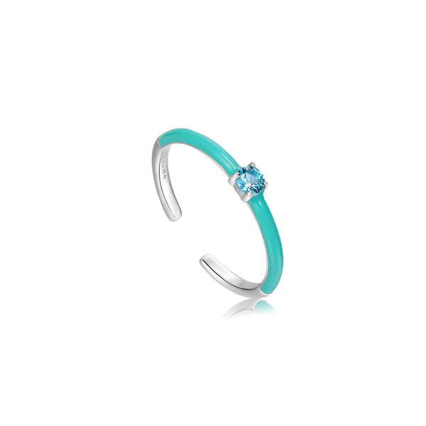 Ania Haie Teal Enamel Silver Adjustable Ring