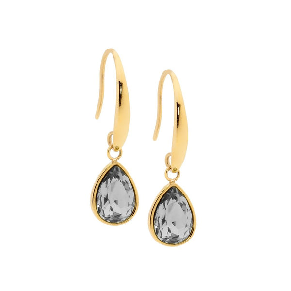 OCEANNIA JEWELS - Stainless Steel Tear Drop Earrings with Smokey Black Glass & Gold IP Plating