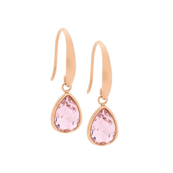 OCEANNIA JEWELS - Stainless Steel Tear Drop Earrings with Pink Glass & Rose Gold IP Plating