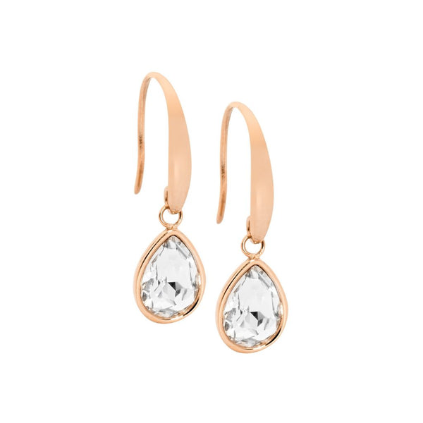 OCEANNIA JEWELS - Stainless Steel Tear Drop Earrings with WH Glass & Rose Gold IP Plating