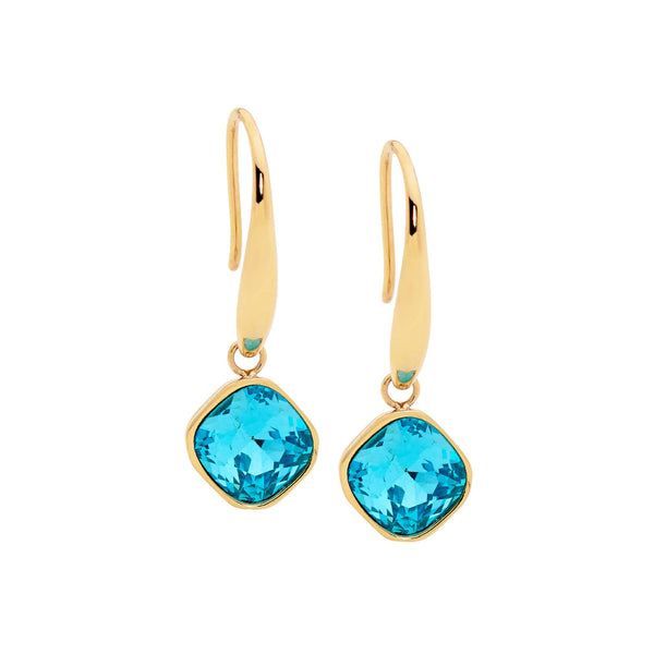 OCEANNIA JEWELS - Stainless Steel Mint Glass Square Drop Earrings with Gold IP Plating