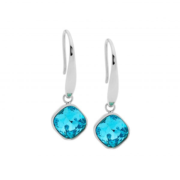 OCEANNIA JEWELS - Stainless Steel Mint Glass Square Drop Earrings