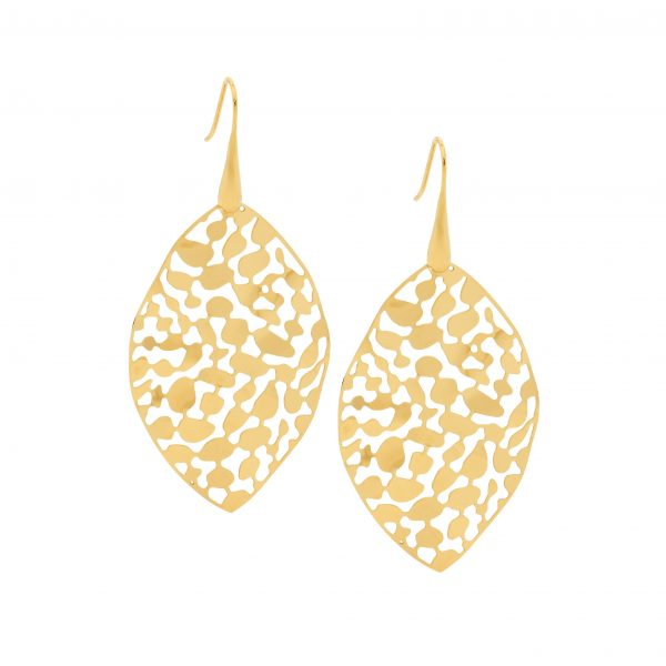 OCEANNIA JEWELS - Stainless Steel 50mm Leaf Earrings with Gold IP Plating