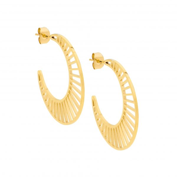 OCEANNIA JEWELS - Stainless steel 3.5cm hoop earrings, open line feature with gold IP plating
