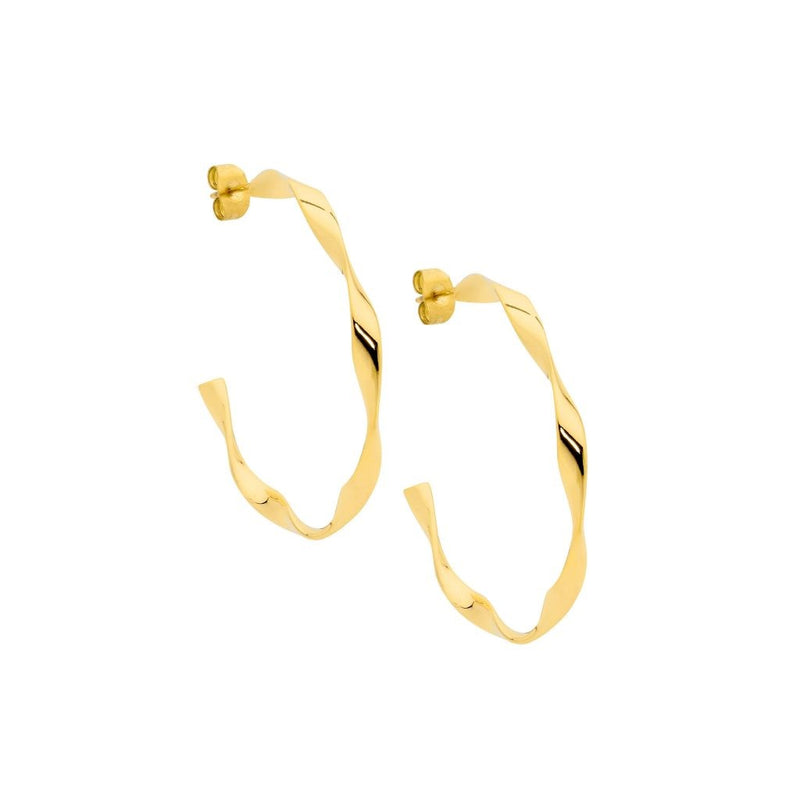 OCEANNIA JEWELS - Stainless steel 3cm twist hoop earrings with Gold IP plating