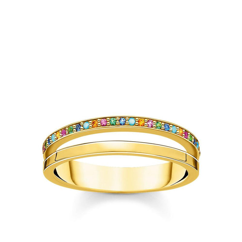 THOMAS SABO - Double Band Cubic Zirconia Gold Ring