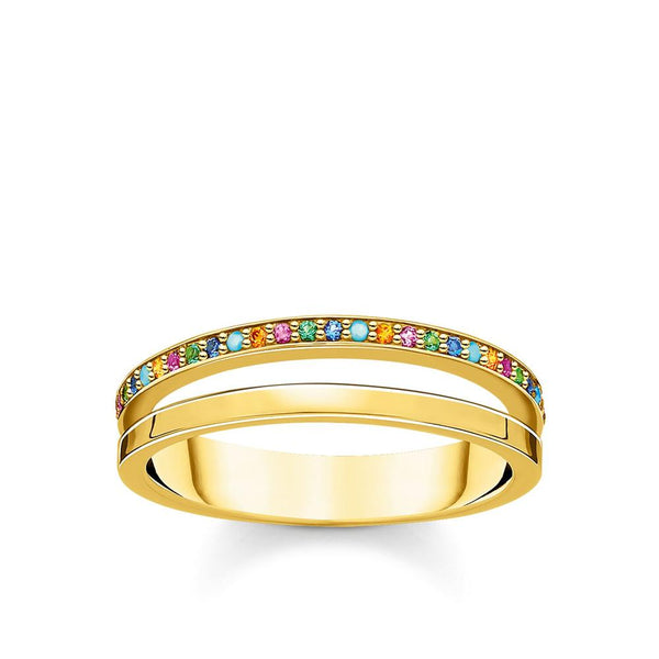 THOMAS SABO - Colour CZ Double Band Yellow Gold Ring