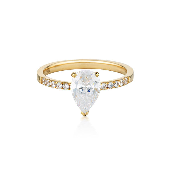 Georgini - Pear Cut And Round Brilliant 1.5Ct Cubic Zirconia Engagement Ring In 9Ct Yellow Gold
