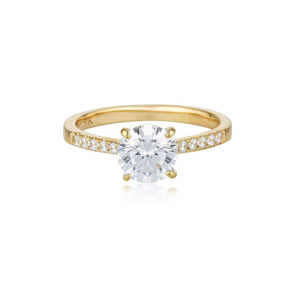 Georgini - Round Brilliant Cut 1.25Ct Cubic Zirconia Engagement Ring In 9Ct Yellow Gold