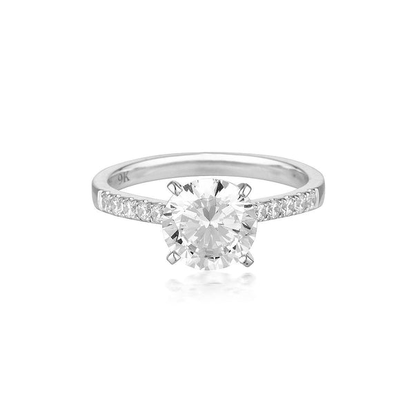 Georgini - Round Brilliant Cut 2Ct Cubic Zirconia Engagement Ring In 9Ct White Gold