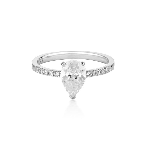 Georgini - Pear Cut And Round Brilliant 1.5Ct Diamond Stimulant Engagement Ring In 9Ct White Gold