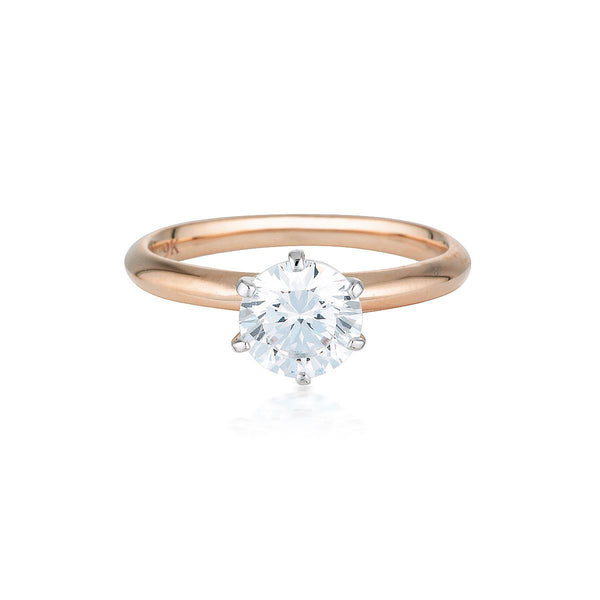 Georgini - Round Brilliant Cut 1.25Ct Cubic Zirconia Solitaire With Knife Edge Band In 9Ct Rose Gold