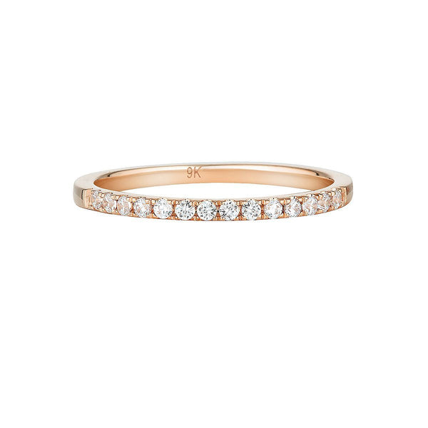 Georgini - Round Brilliant Cut Cubic Zirconia Wedding Band In 9Ct Rose Gold