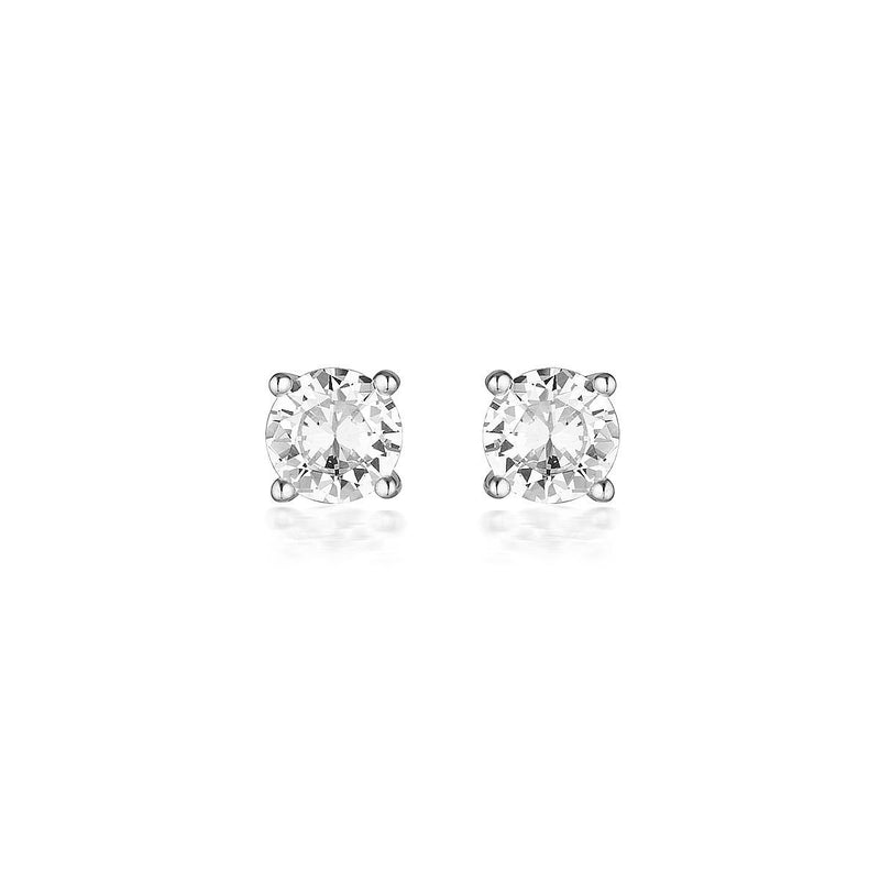 Georgini - 9Ct White Gold 6.5 Mm 2Ct Diamond Stimulants Round Stud Earrings