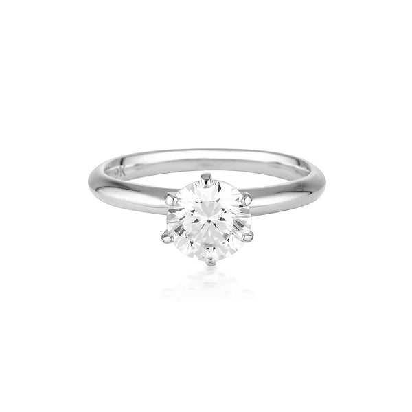 Georgini - Round Brilliant Cut 1.25Ct Cubic Zirconia Solitaire With Knife Edge Band In 9Ct White Gold