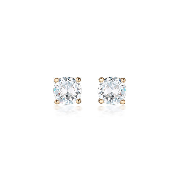 Georgini - 9Ct Rose Gold 5Mm 1Ct Diamond Simulant Round Stud Earrings