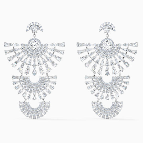 Swarovski White Swarovski Sparkling Dance Dial Up Pierced Earrings