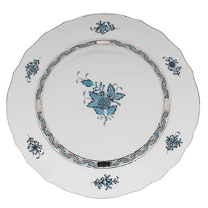 Herend Chinese Bouquet Dinner Plate, Turquoise & Platinum