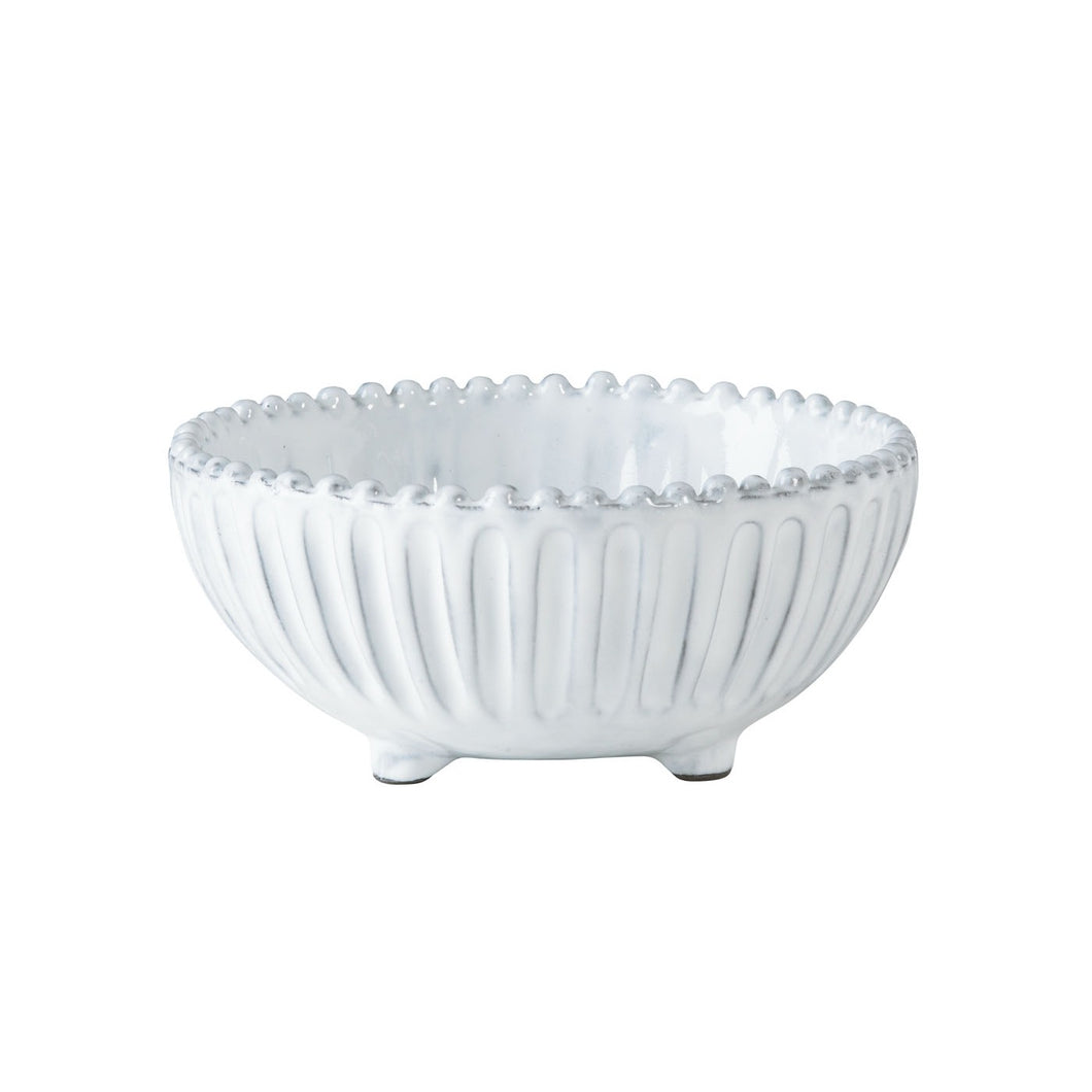 Vietri Incanto Stone White Stripe Footed Bowl