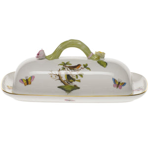 Herend Rothschild Bird Butter Dish with Branch