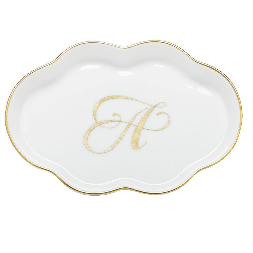 Herend Scalloped Tray with Monogram