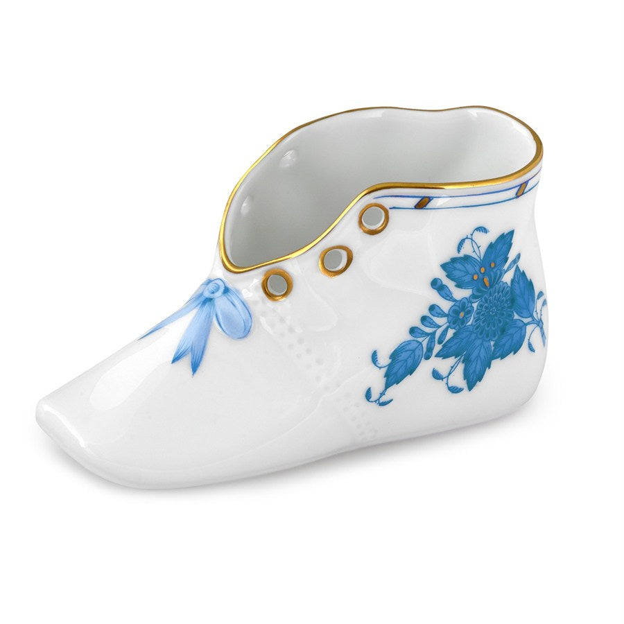 Herend Baby Shoe, Chinese Bouquet Blue