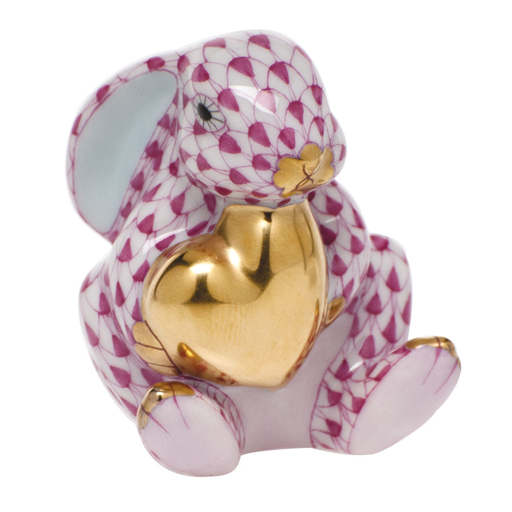 Herend Bunny with Heart, Raspberry
