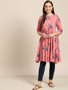 Queen ellie Pink & Blue Printed Tunic