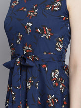 Load image into Gallery viewer, Queen ellie Women Navy Blue Printed Fit and Flare Dress