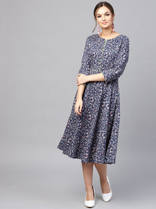 Queen ellie Women Navy Blue & Pink Printed Fit and Flare Dress