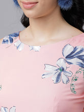 Load image into Gallery viewer, Queen ellie Women Pink & Blue Floral Print Fit and Flare Dress