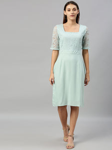 Queen ellie Women Green Solid A-Line Dress With Lace Inserts