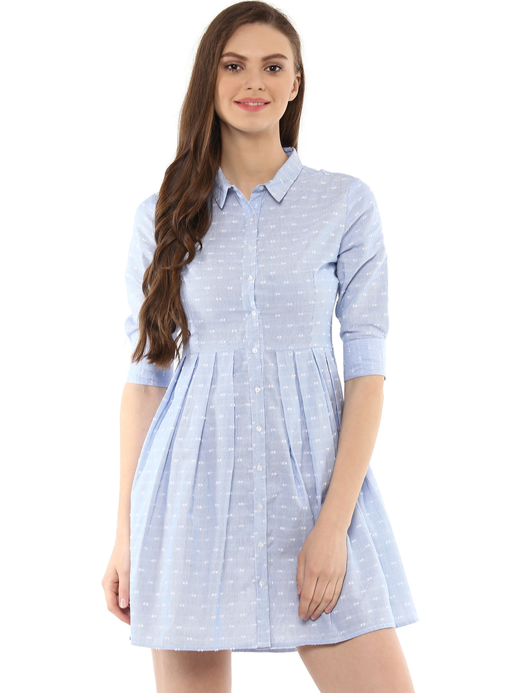 Queen ellie Women Blue Self-Striped Pleated Shirt Dress