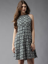 Load image into Gallery viewer, Queen ellie Women Black & Off-White Printed Fit & Flare Dress