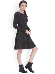 Queen ellie Women Black Self Design Fit and Flare Dress