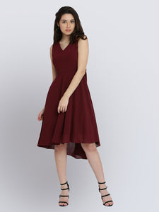Queen ellie Women Red Solid Fit and Flare Dress