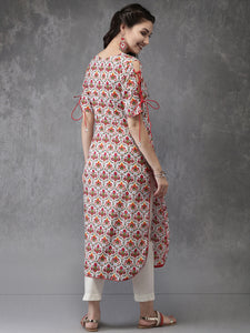 Queen Ellie Women White & Red Printed Straight Kurta