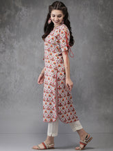 Load image into Gallery viewer, Queen Ellie Women White & Red Printed Straight Kurta